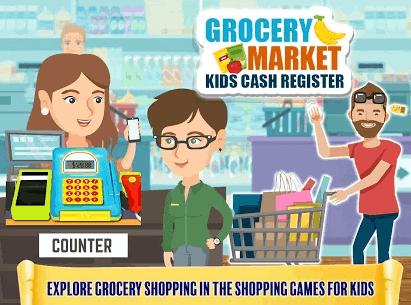 Grocery Market Kids Cash Register - money Games for Kids