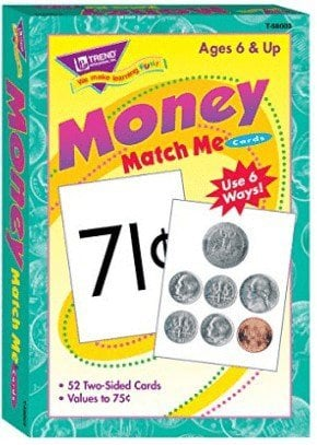 money match me cards to teach kids about money
