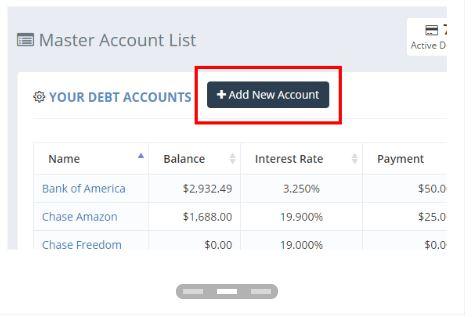 undebt it add a new account