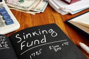 Sinking Fund sign on the page and calculator.