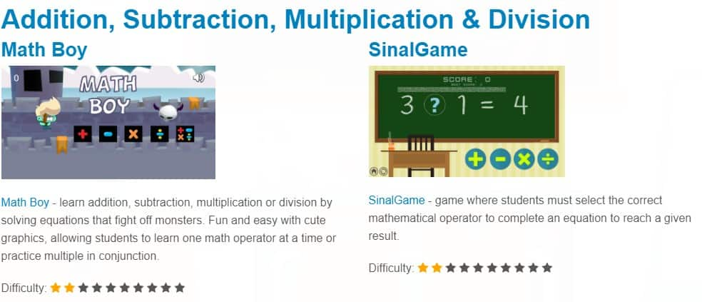 addition, subtraction, multiplication and division math games
