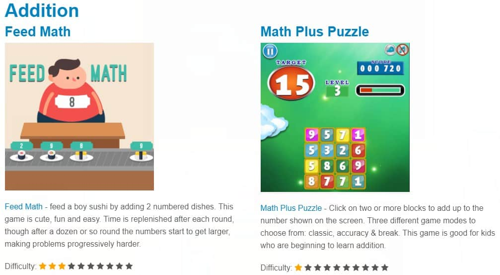 addition math games for kids