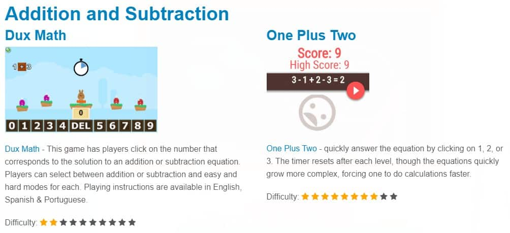 addition and subtraction fun math games for kids