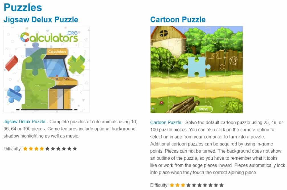 puzzle educational online games