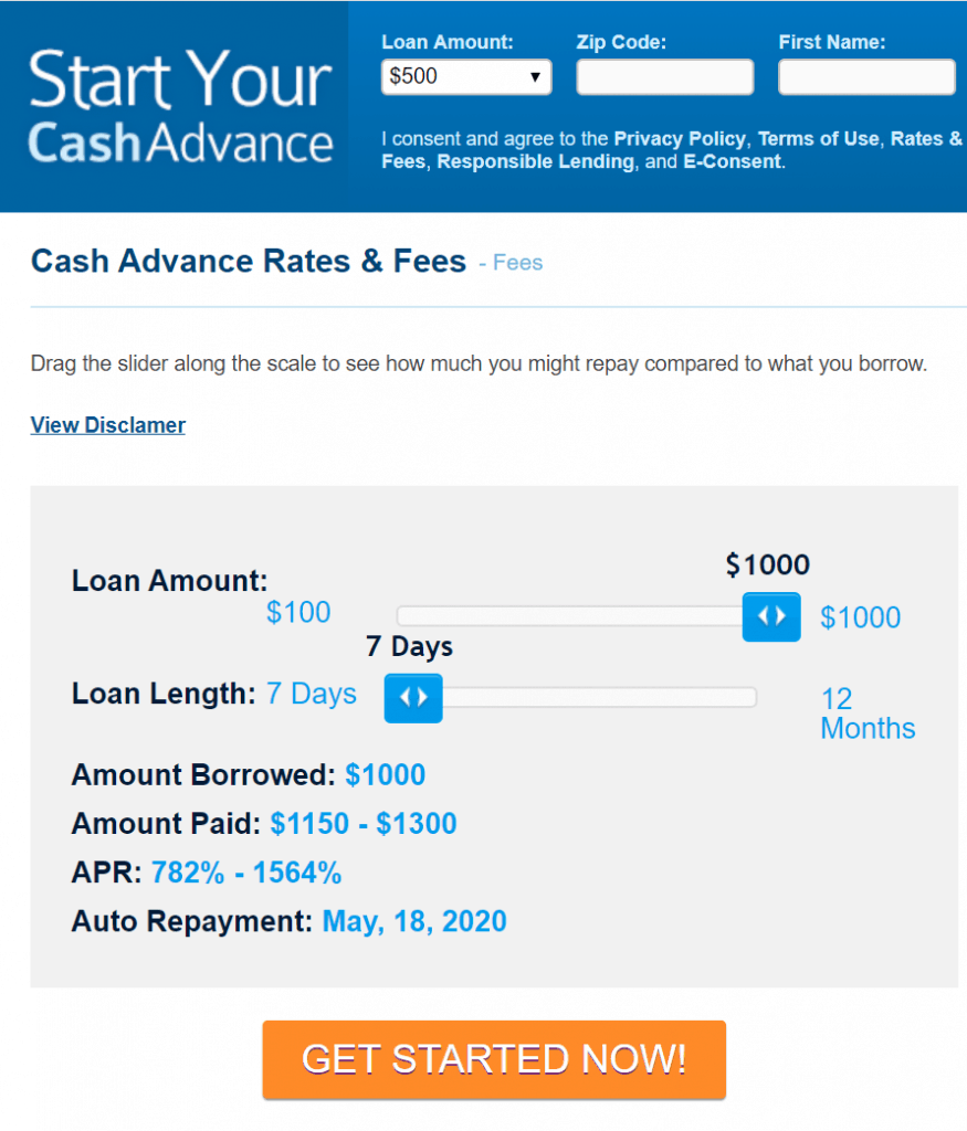 cashadvance.com interest rates for bad credit loans guaranteed approval