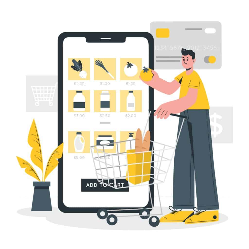 grocery shopping using a meal plan