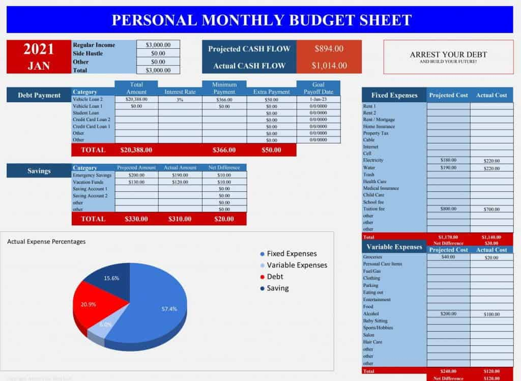 personal monthly budget sheet excel google sheets