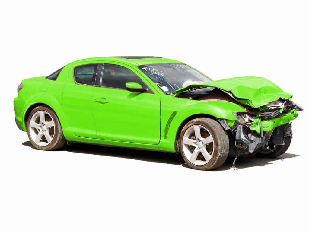 green selling wrecked car