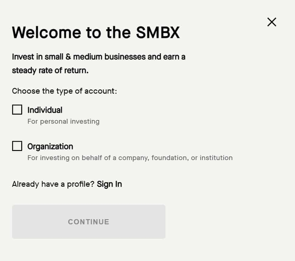 sign up with SMBX small business bond platform