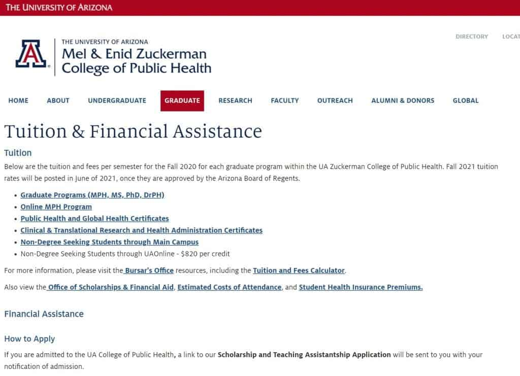 university of arizona tuition and financial assistance page