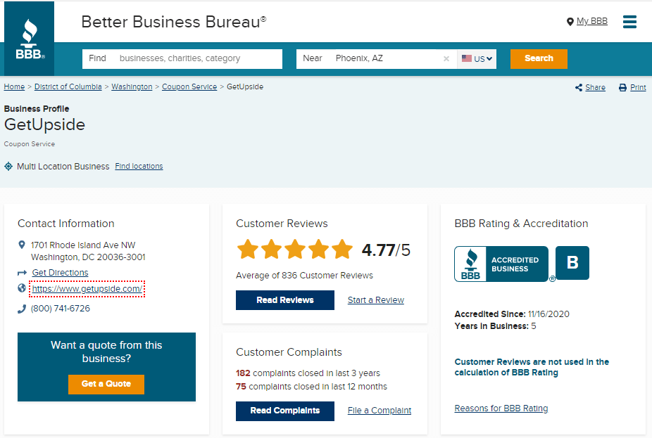 getupside review better business bureau profile