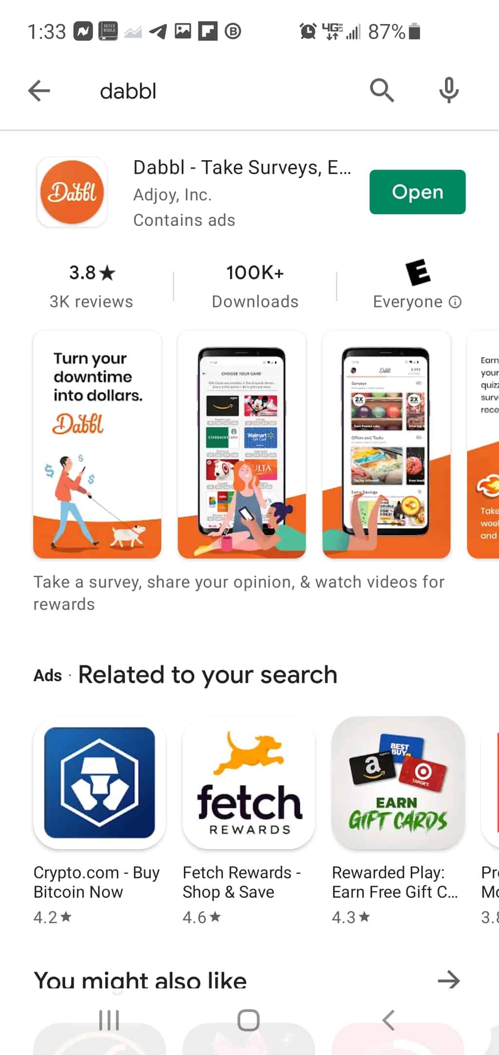 dabble review google play store apple istore
